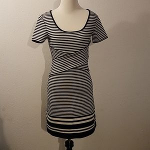 NWT MSSP Navy Blue and White striped fitted dress